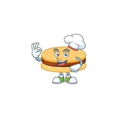 A picture of brown alfajor cartoon character wearing white chef hat. Vector illustration