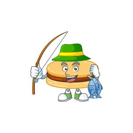 Cartoon character of funny Fishing brown alfajor