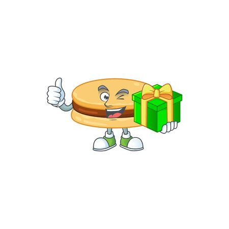Cheerful brown alfajor cartoon character holding a gift box