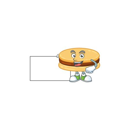 Funny brown alfajor cartoon design Thumbs up with a white board. Vector illustration