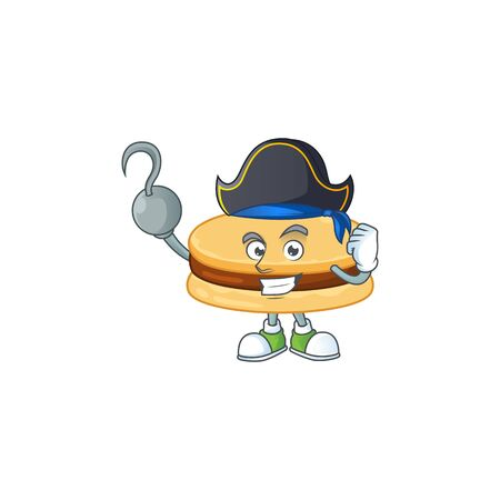 One hand Pirate cartoon design style of brown alfajor wearing a hat  イラスト・ベクター素材