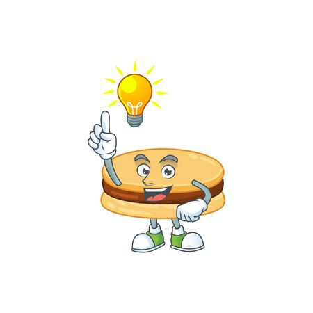 Brown alfajor mascot character design with have an idea cute gesture