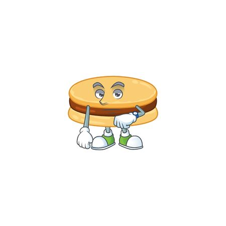 A cartoon icon of brown alfajor with waiting gesture. Vector illustration