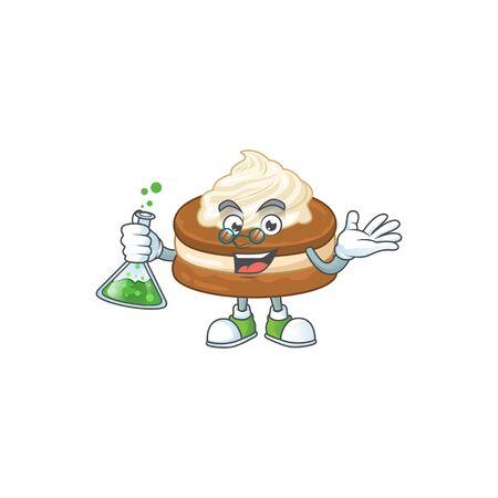 White cream alfajor brainy Professor Cartoon design grasp a glass tube 向量圖像