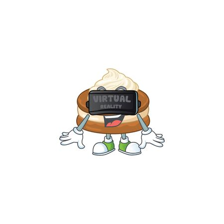 An icon of white cream alfajor character using Virtual reality headset. Vector illustration