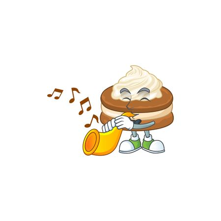 White cream alfajor cartoon character playing music with a trumpet. Vector illustration