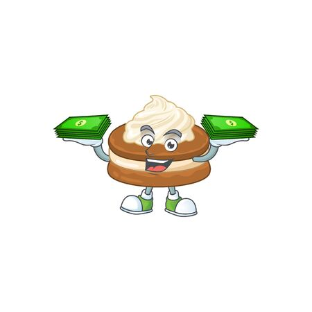 happy rich white cream alfajor character with money on hands