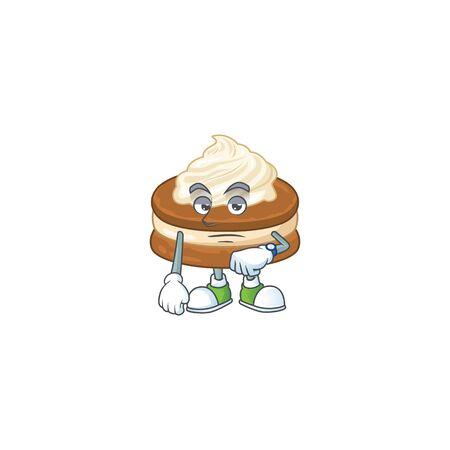 A cartoon icon of white cream alfajor with waiting gesture. Vector illustration