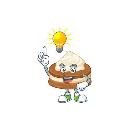 White cream alfajor mascot character design with have an idea cute gesture  イラスト・ベクター素材
