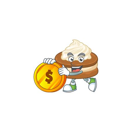 mascot cartoon character style of white cream alfajor showing one finger gesture