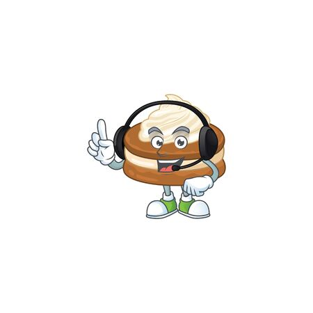An attractive white cream alfajor mascot character concept wearing headphone  イラスト・ベクター素材