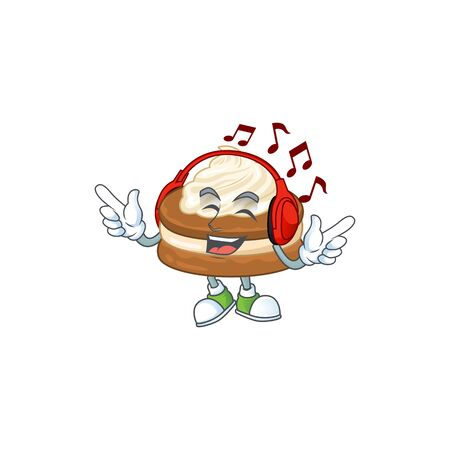 cartoon mascot design of white cream alfajor enjoying music. Vector illustration