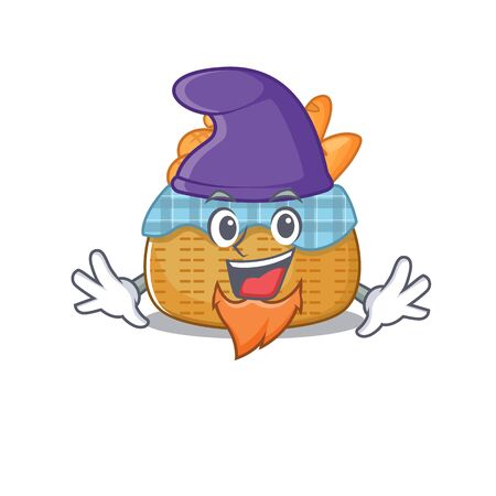 Cute and funny bread basket cartoon character dressed as an Elf. Vector illustration