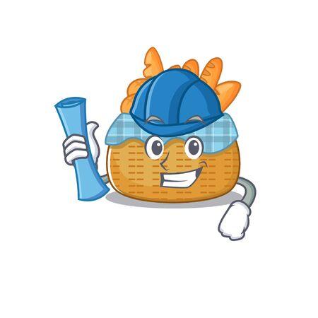 Smiling Architect of bread basket having blue prints and blue helmet. Vector illustration