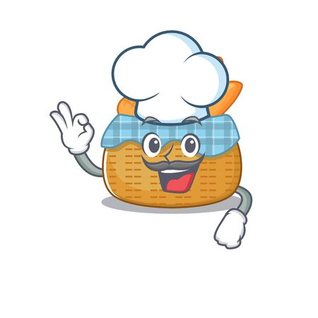 Cute bread basket cartoon character wearing white chef hat. Vector illustration