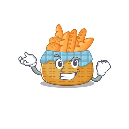Bread basket cartoon character style with happy face. Vector illustration