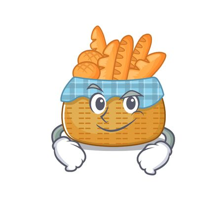 Funny bread basket mascot character showing confident gesture. Vector illustration