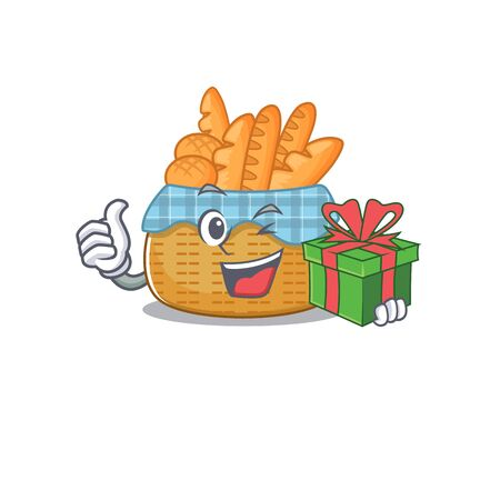 Smiley bread basket cartoon character having a gift box. Vector illustration