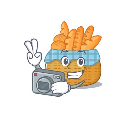 Bread basket mascot design as a professional photographer with a camera. Vector illustration Illustration