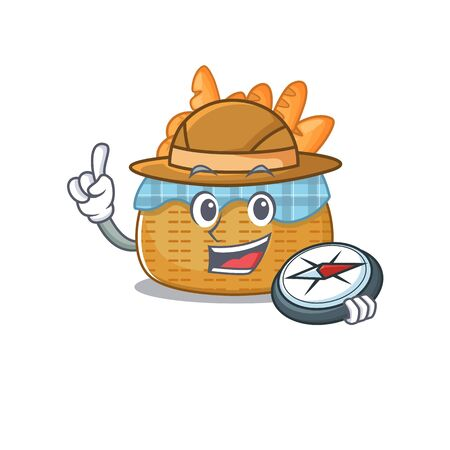 Bread basket an experienced explorer with a compass. Vector illustration Ilustrace