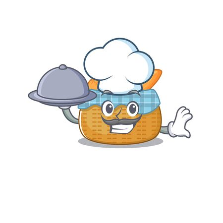 bread basket as a chef cartoon character with food on tray. Vector illustration Ilustracja
