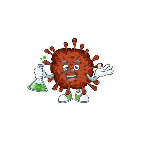 Infection coronavirus brainy Professor Cartoon design grasp a glass tube