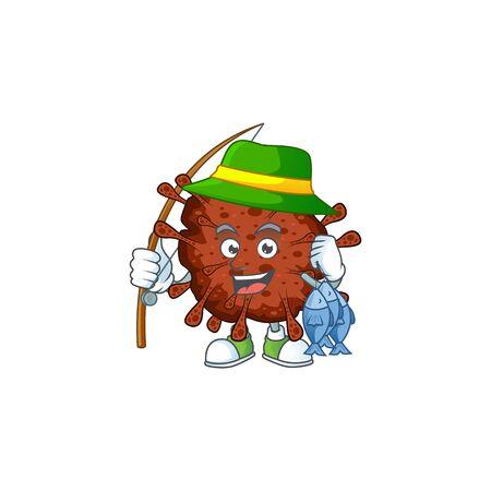 Cartoon character of funny Fishing infection coronavirus Ilustracja