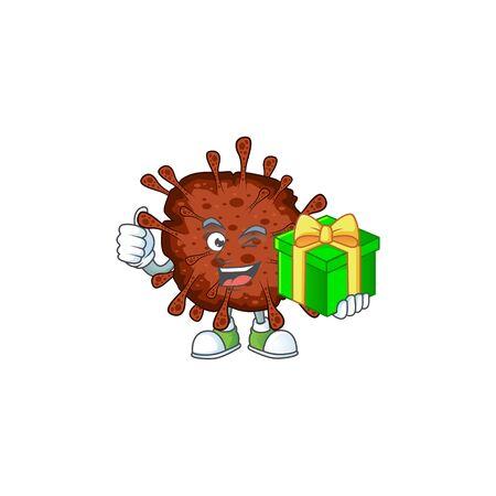 Cheerful infection coronavirus cartoon character holding a gift box