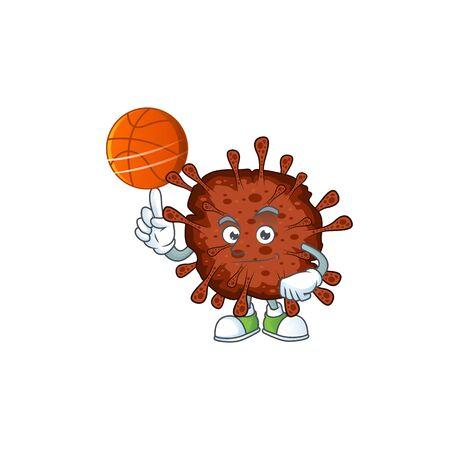 Attractive infection coronavirus cartoon design with basketball