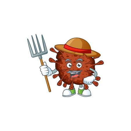 Infection coronavirus in Farmer mascot design with hat and pitchfork