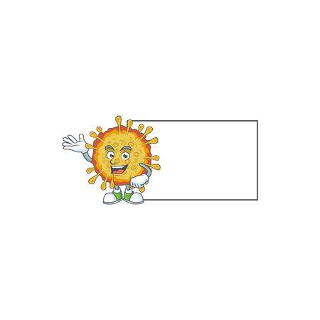 Outbreaks coronavirus with board cartoon mascot design style Ilustracja