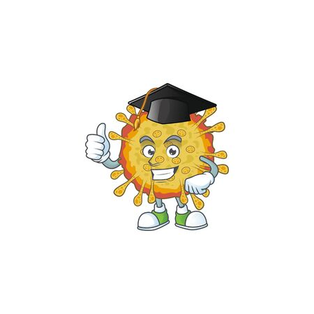 Happy face of outbreaks coronavirus in black graduation hat for the ceremony Ilustracja