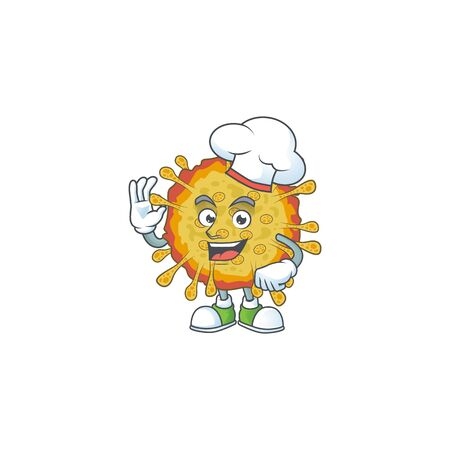 A picture of outbreaks coronavirus cartoon character wearing white chef hat