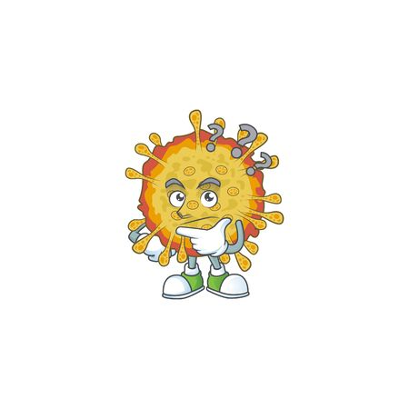 Cute outbreaks coronavirus cartoon character using a microphone