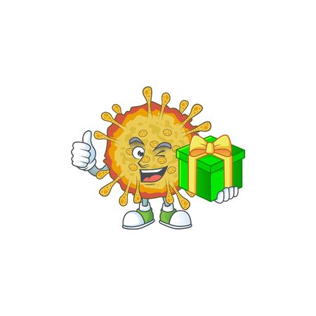 Cheerful outbreaks coronavirus cartoon character holding a gift box Ilustrace