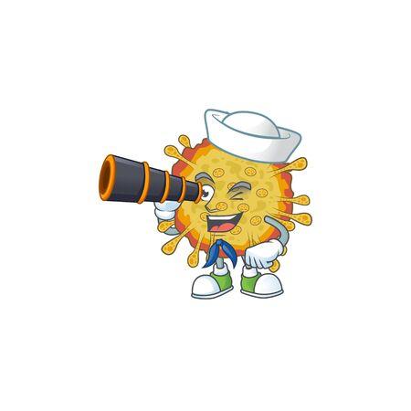 Outbreaks coronavirus in Sailor cartoon character design with binocular