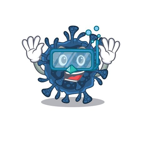 A cartoon picture featuring decacovirus wearing Diving glasses. Vector illustration