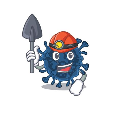 Cool miner worker of decacovirus cartoon character design. Vector illustration Ilustrace