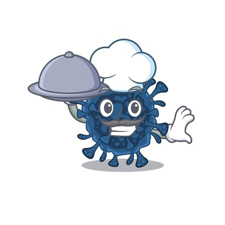 Decacovirus as a chef cartoon character with food on tray. Vector illustration