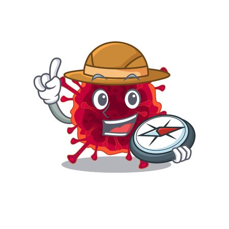 Pedacovirus an experienced explorer with a compass. Vector illustration