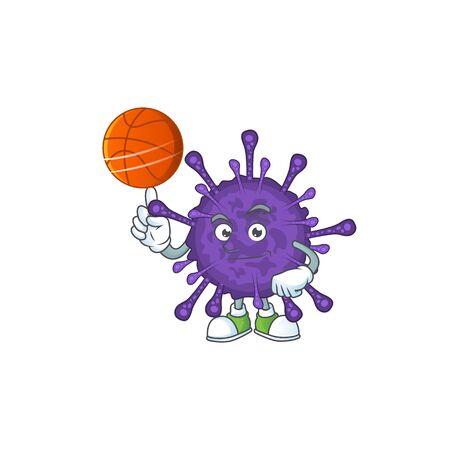 Attractive coronavirinae cartoon character design with basketball