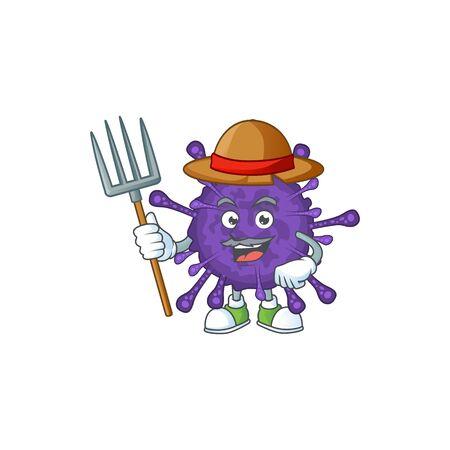 Coronavirinae in Farmer mascot design with hat and pitchfork Stock Illustratie
