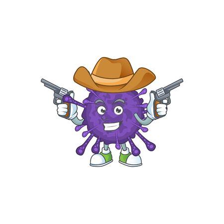 Cool cowboy cartoon design of coronavirinae holding guns
