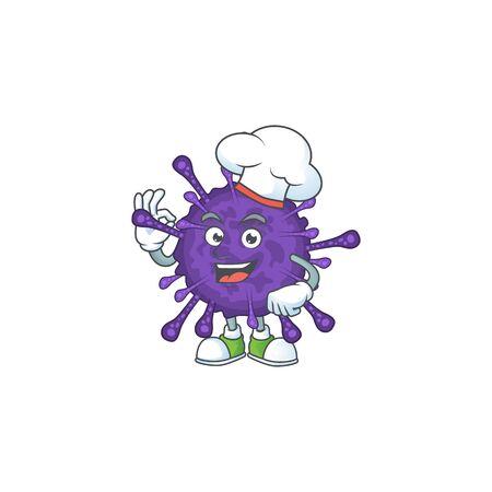 A picture of coronavirinae cartoon character wearing white chef hat 向量圖像