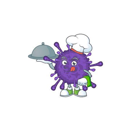 chef cartoon character of coronavirinae with food on tray