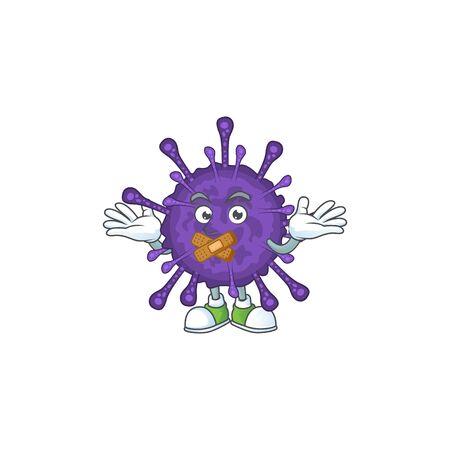Coronavirinae cartoon character design concept showing silent gesture