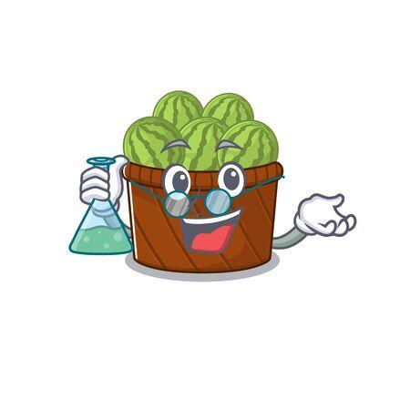 Smart Professor of watermelon fruit basket mascot design holding a glass tube. Vector illustration