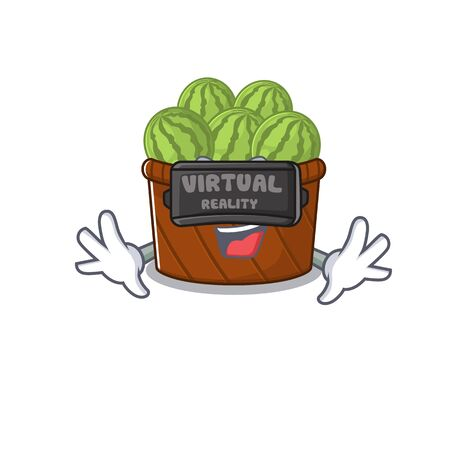 A picture of watermelon fruit basket character with Virtual reality headset. Vector illustration