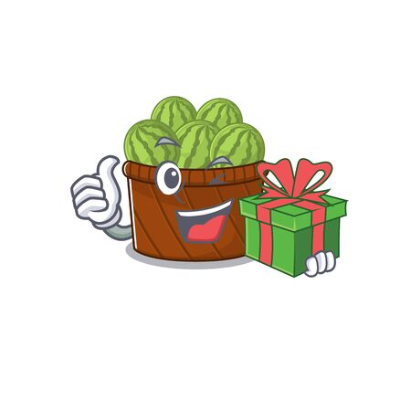 Smiley watermelon fruit basket cartoon character having a gift box. Vector illustration Ilustrace