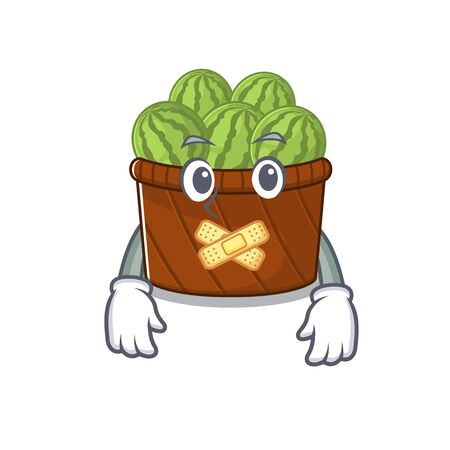 Watermelon fruit basket mascot cartoon character design with silent gesture
